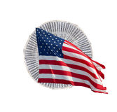 US-Geld mit amerikanischer Flagge Lizenzfreies Stockbild