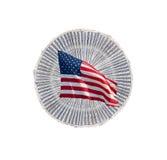 US-Geld mit amerikanischer Flagge Stockfotos