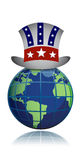 US globe hat illustration Royalty Free Stock Photography