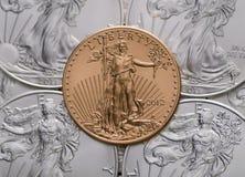 US-Gold-Eagle-ontop von US-Silber Eagles Lizenzfreies Stockbild