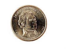 US-Goldmünze James Monroe geht Geld voran Stockfotografie
