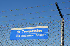 Us government no trespassing sign Stock Photo