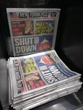 US Government Shutdown, Newspaper Headline, NYC, NY, USA. President Trump`s alleged affair, proposed congestion pricing, and the government shutdown are the Stock Image