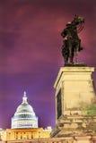US Grant Statue Memorial US  Capitol Construction Washington DC. Ulysses US Grant Equestrian Statue Civil War Memorial Evening Stars US Capitol Construction Stock Photo