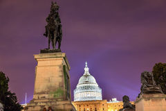 US Grant Statue Memorial US Capitol Washington DC. Ulysses US Grant Equestrian Statue Civil War Memorial Evening Stars US Capitol Construction Washington DC Royalty Free Stock Photography
