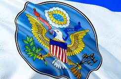 US Great Seal flag. 3D Waving flag design. The national symbol of USA, 3D rendering. US Great Seal National colors. USA 3D Waving. Sign background design. 3D royalty free stock photo