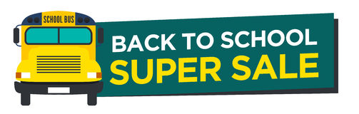 Back to School Sale Sign. With Schoolbus Stock Images