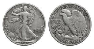 US-Halbdollarmünze 50-Cent-Silbermünze 1942 lizenzfreie stockfotos