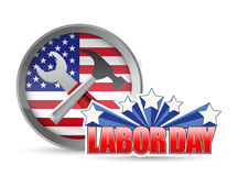 US happy Labor day workers tools and flag sign Royalty Free Stock Images