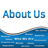 About Us - Heading and Keywords - Blue Stock Image