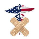 US health care bill  caduceus with flag. And bandage Royalty Free Stock Image