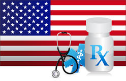 US Healthcare flag and medicine illustration Stock Images