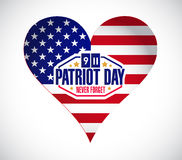 Us heart patriot day sign illustration Stock Images