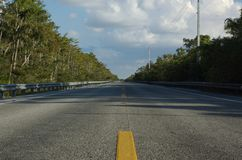Us highway 41. Lonely highway in everglades florida Royalty Free Stock Photography