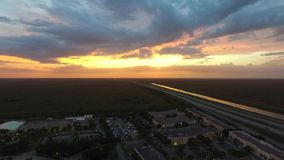 Us Highway aerial shoot. Sunset stock video footage