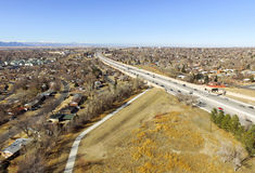 US highway 36 in Denver. Aerial view of US highway 36 through Denver city, Colorado, USA Stock Image