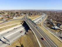 US highway 36 in Denver. Aerial view of US highway 36 in the city of Denver, Colorado, USA Stock Photos