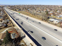 US highway 36 in Denver. Aerial view of US highway 36 receding through city of Denver, Colorado, USA Royalty Free Stock Photography