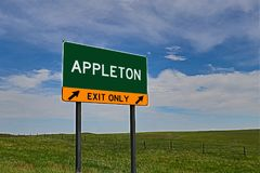 US Highway Exit Sign for Appleton. Appleton composite Image `EXIT ONLY` US Highway / Interstate / Motorway Sign royalty free stock image