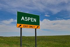 US Highway Exit Sign for Aspen Stock Image