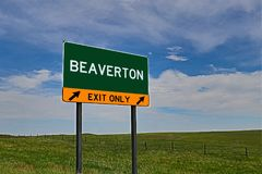 US Highway Exit Sign for Beaverton. Beaverton `EXIT ONLY` US Highway / Interstate / Motorway Sign Stock Photography