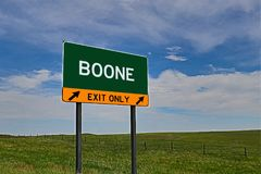 US Highway Exit Sign for Boone. Boone `EXIT ONLY` US Highway / Interstate / Motorway Sign Stock Photography