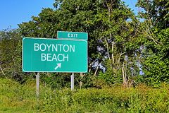 US Highway Exit Sign for Boynton Beach. Boynton Beach US Style Highway / Motorway Exit Sign Royalty Free Stock Images