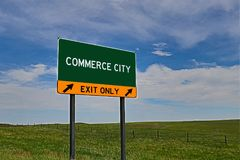 US Highway Exit Sign for Commerce City. Commerce City `EXIT ONLY` US Highway / Interstate / Motorway Sign royalty free stock photos
