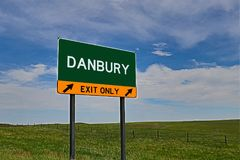 US Highway Exit Sign for Danbury. Danbury `EXIT ONLY` US Highway / Interstate / Motorway Sign stock photography