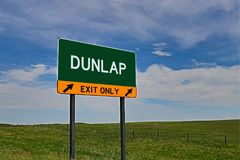 US Highway Exit Sign for Dunlap. Dunlap `EXIT ONLY` US Highway / Interstate / Motorway Sign Stock Images