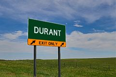 US Highway Exit Sign for Durant. Durant `EXIT ONLY` US Highway / Interstate / Motorway Sign stock photography