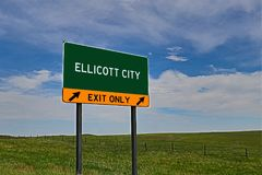 US Highway Exit Sign for Ellicott City. Ellicott City `EXIT ONLY` US Highway / Interstate / Motorway Sign stock images
