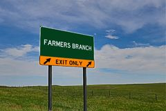 US Highway Exit Sign for Farmers Branch. Farmers Branch `EXIT ONLY` US Highway / Interstate / Motorway Sign stock image