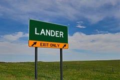 US Highway Exit Sign for Lander. Lander `EXIT ONLY` US Highway / Interstate / Motorway Sign royalty free stock photos