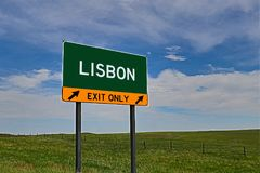 US Highway Exit Sign for Lisbon royalty free stock image