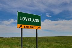 US Highway Exit Sign for Loveland. Loveland `EXIT ONLY` US Highway / Interstate / Motorway Sign stock photography