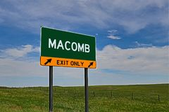 US Highway Exit Sign for Macomb. Macomb `EXIT ONLY` US Highway / Interstate / Motorway Sign stock photos