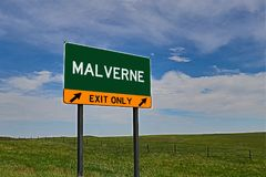 US Highway Exit Sign for Malverne. Malverne `EXIT ONLY` US Highway / Interstate / Motorway Sign royalty free stock images