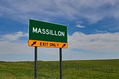 US Highway Exit Sign for Massillon. Massillon `EXIT ONLY` US Highway / Interstate / Motorway Sign stock photography