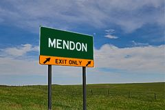 US Highway Exit Sign for Mendon. Mendon `EXIT ONLY` US Highway / Interstate / Motorway Sign Royalty Free Stock Image