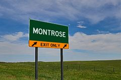 US Highway Exit Sign for Montrose. Montrose `EXIT ONLY` US Highway / Interstate / Motorway Sign royalty free stock images