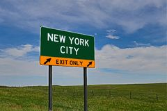 US Highway Exit Sign for New York City royalty free stock photo