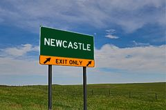 US Highway Exit Sign for Newcastle. Newcastle `EXIT ONLY` US Highway / Interstate / Motorway Sign stock photos