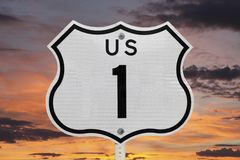 US Highway One Sign with Sunrise Sky Stock Photos
