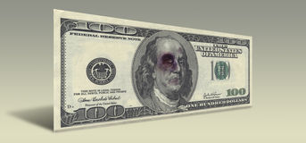 US Hundred Dollar bill with Beaten Franklin Royalty Free Stock Image