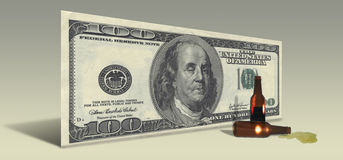 US Hundred Dollar bill with Drunken Ben Franklin Royalty Free Stock Photography