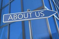 About us. Illustration with street sign in front of office building Royalty Free Stock Image