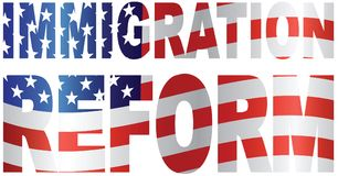 US Immigration Reform Flag Text Outline vector illustration Royalty Free Stock Image