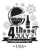 US Independence Day design. Fourth of July. Festive salute and barbecue. 4th Jule B-B-Q. Federal holiday in the United States. Vector illustration stock illustration