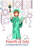 US Independence Day design. Fourth of July. Festive salute and cute girl in costume Statue of Liberty. Vector illustration Royalty Free Stock Images